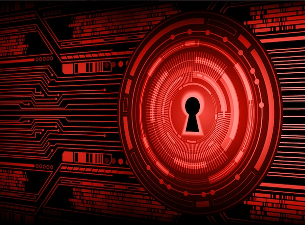 Geschlossenes vorhängeschloss auf digitalem hintergrund, rote cybersicherheit