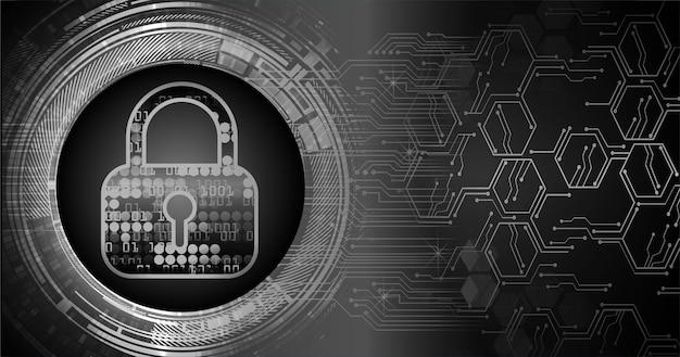 Geschlossenes vorhängeschloss für cybersicherheit im digitalen hintergrund