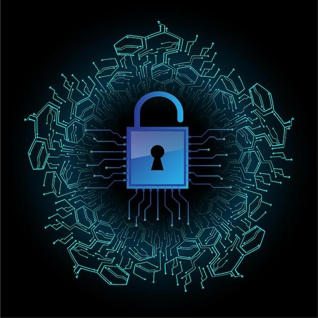 Geschlossenes vorhängeschloss für cybersicherheit im digitalen hintergrund Premium Vektoren
