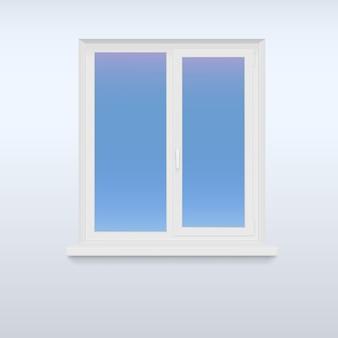 Geschlossenes, weißes plastikfenster.