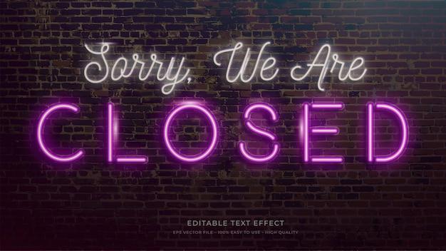 Geschlossenes zeichen neonlicht typografie bearbeitbarer texteffekt