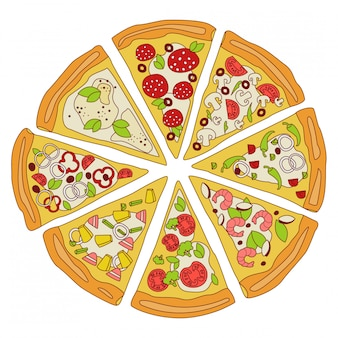Geschmackvolle geschnittene pizza-illustration
