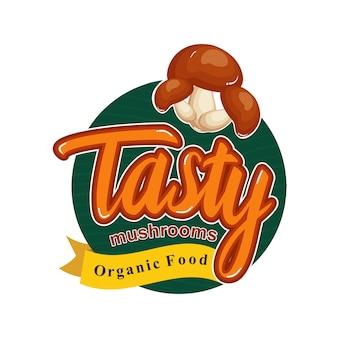 Geschmackvolle gesunde mahlzeit mit frischem pilz-emblem-ausweis