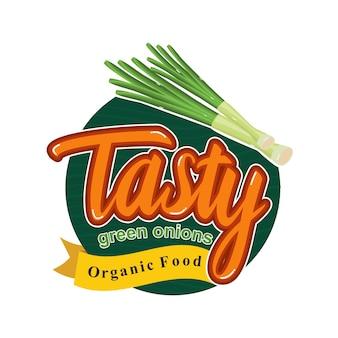 Geschmackvolle gesunde mahlzeit mit grünem zwiebelen-emblem-ausweis