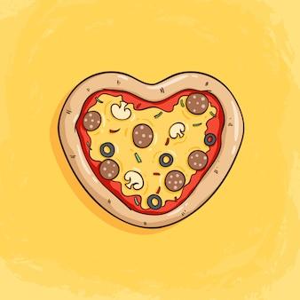 Geschmackvolle pizza, die ein herz oder eine liebe mit farbiger gekritzelart bildet