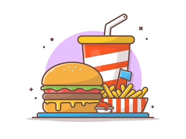 Geschmackvoller kombinierter kindermahlzeit-menü-käse-burger mit pommes-frites und soda-ikonen-illustration