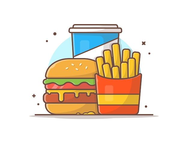 Geschmackvoller kombinierter kindermahlzeit-menü-käse-burger mit pommes-frites und soda