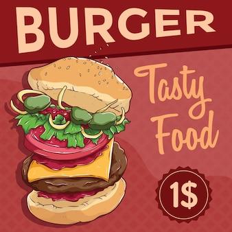 Geschmackvolles essen banner illustration mit leckeren burger auf kreativen hintergrund