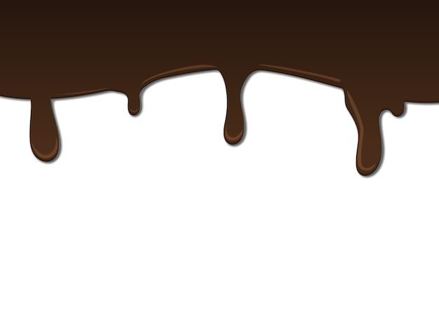 Geschmolzene dunkle schokolade, die auf weißer wand tropft
