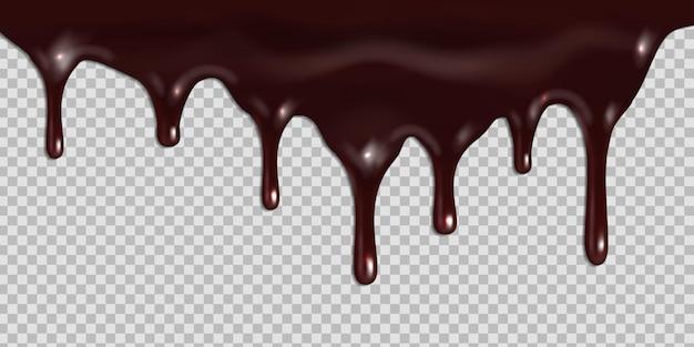Geschmolzene dunkle schokolade tropft lokalisiert auf transparentem hintergrund.