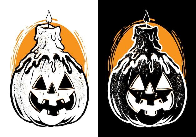 Geschmolzene kerze auf halloween-kürbis Premium Vektoren