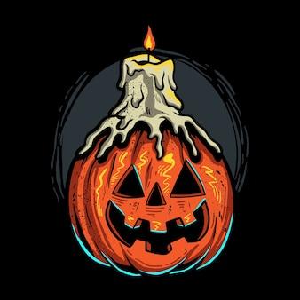 Geschmolzene kerze auf halloween-kürbisillustration Premium Vektoren