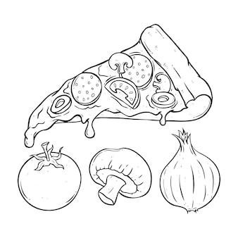 Geschmolzene pizzascheibe mit tomate