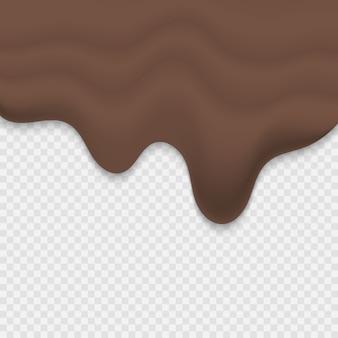 Geschmolzene schokolade tropft auf transparentem hintergrund