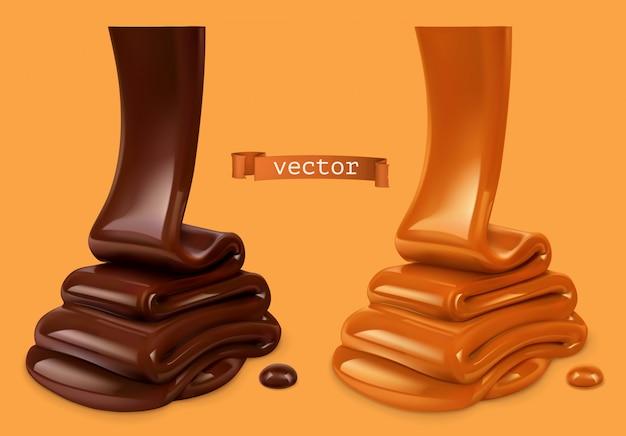 Geschmolzene schokolade und gießende karamellsauce 3d realistisch. lebensmittelillustration