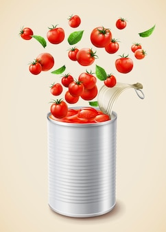 Geschmorte tomaten in dosen mit leerem paket in 3d-darstellung
