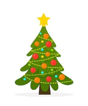 Geschmückter weihnachtsbaum. girlandenlichter, dekokugeln und lampen.