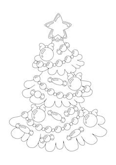 Geschmückter weihnachtsbaum malbuchseite für kinder