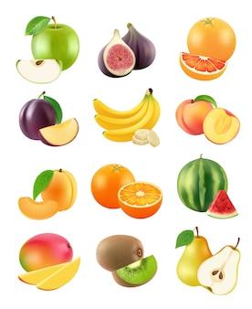 Geschnittene früchte. vegetarische lebensmittel landwirtschaft objekte pflaume orange bananen birne kiwi aprikose apfel orange realistisch