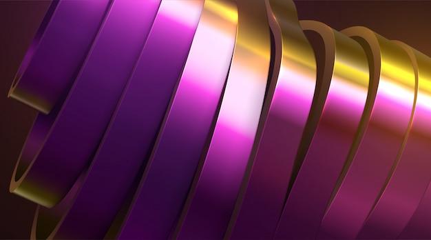 Geschnittene gewellte oberfläche. abstrakter hintergrund von gold und purpur mit dünnfilmreflexionseffekt. illustration