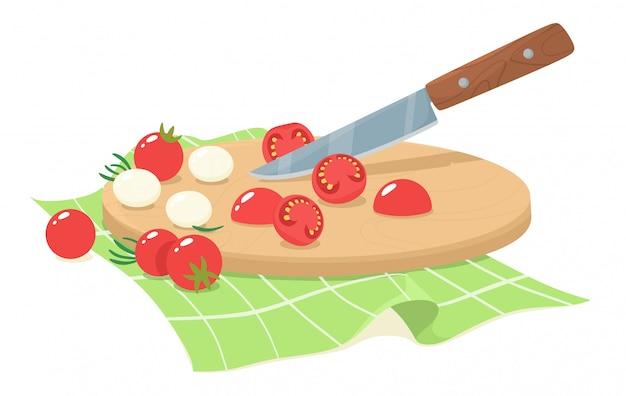 Geschnittene kirschtomaten mit mozzarella und rosmarinblättern. in scheiben geschnittene anteile von kirschtomaten. illustration im flachen stil.