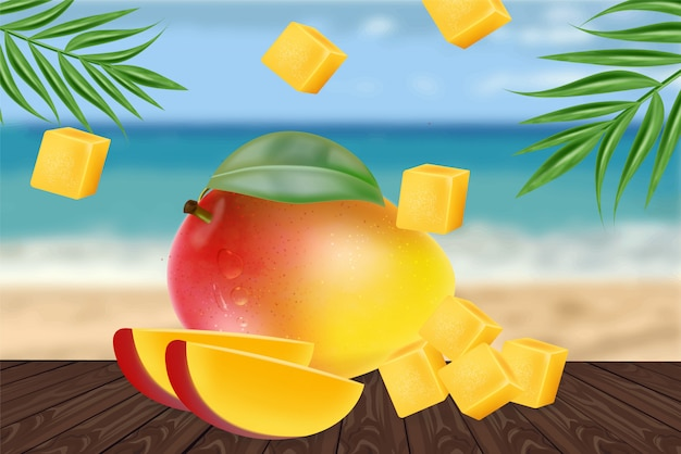Geschnittene mangofrucht geschnitten auf strand