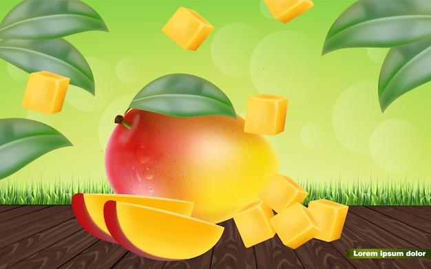 Geschnittene mangofrucht