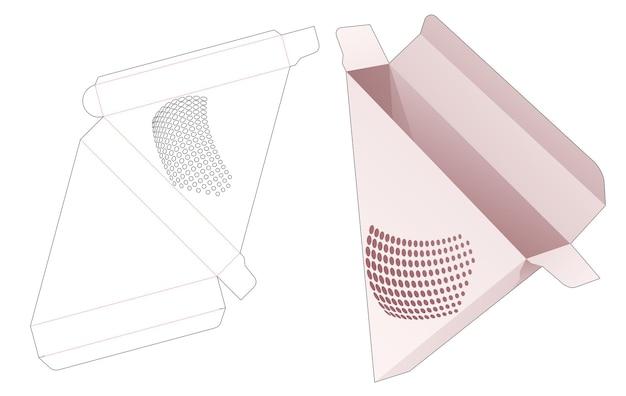 Geschnittene pizzaverpackung mit gestempelter halbtonpunkt-stanzschablone