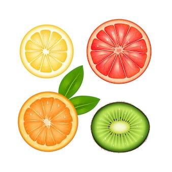 Geschnittener draufsichtsatz der früchte der zitronenpampelmusenorange und -kiwi