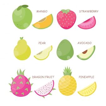 Geschnittener fruchtvektor-illustrationssatz