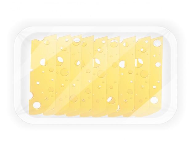 Geschnittener käse in der paketvektorillustration