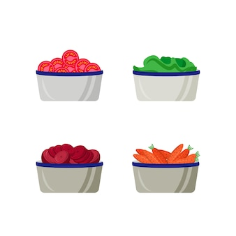 Geschnittenes gemüse in platten flache farbe objektsatz. rohe salatzutaten in behältern. lebensmittelabschnitt isolierte karikatur