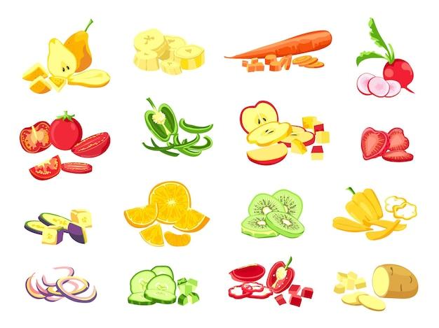 Geschnittenes obst und gemüse. cartoon vegetarisches essen geschnittene scheiben, ringe und stücke. früchte halber schnitt aus orangen-, apfel- und bananenvektorsatz. gemüse- und obstbananenauberginenillustration