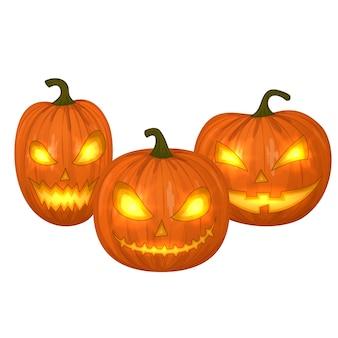Geschnitzte halloween-kürbisse, bunte gruselige halloween-illustration.