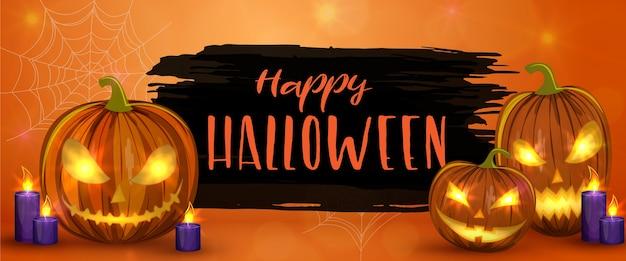 Geschnitzte halloween-kürbisse, horizontales banner. bunte gruselige halloween-illustration.