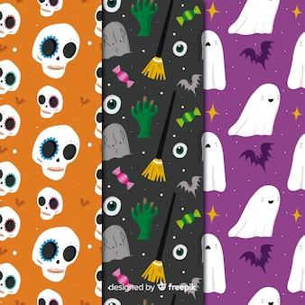 Geschöpfsammlung mit nahtlosem halloween-muster