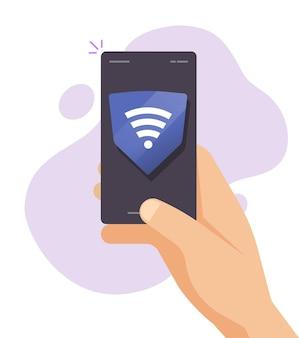 Geschützter sicherer wlan-hotspot-zugang, der mit dem flachen cartoon eines mobiltelefons verbunden ist