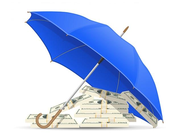 Geschützter und versicherter dollarregenschirm