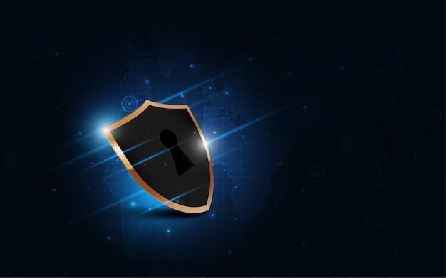 Geschütztes schutzschild sicherheitskonzept sicherheit cyber digital abstrakte technologie