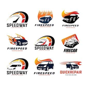 Geschwindigkeit Autorennen Logo Design-Vorlagen-Set