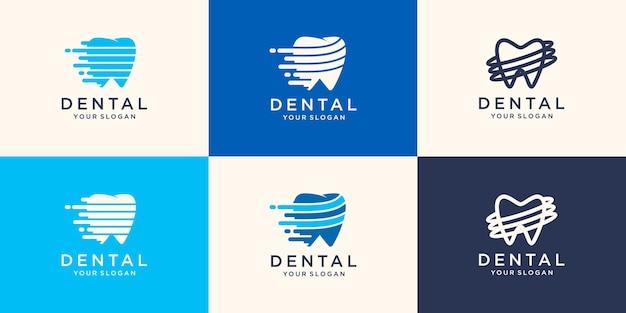Geschwindigkeit dental logo design.creative zahnarzt logo. zahnklinik kreatives firmenlogo. Premium Vektoren