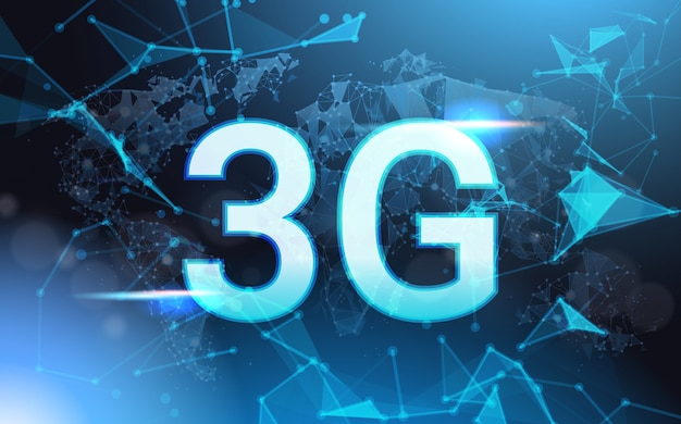 Geschwindigkeit des internetanschluss-3g unterzeichnen vorbei futuristisches niedriges poly-mesh wireframe