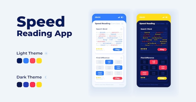 Geschwindigkeit lesen app cartoon smartphone-schnittstelle vorlagen festgelegt. tag- und nachtmodus für mobile app-bildschirmseiten. benutzeroberfläche für verständnisübungen zur anwendung. telefonanzeige mit abbildungen