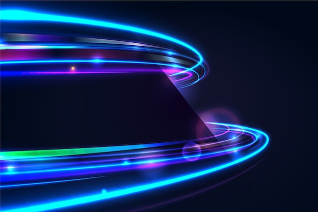 Geschwindigkeit neonlicht mit blasenhintergrund