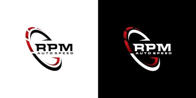 Geschwindigkeit u / min logo design für die automobilindustrie