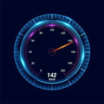 Geschwindigkeitsanzeiger mit zeiger für fahrzeugarmaturenbrett isoliert