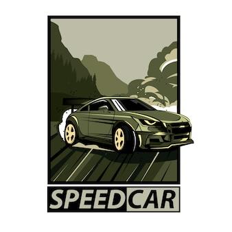 Geschwindigkeitsautofeld mit text