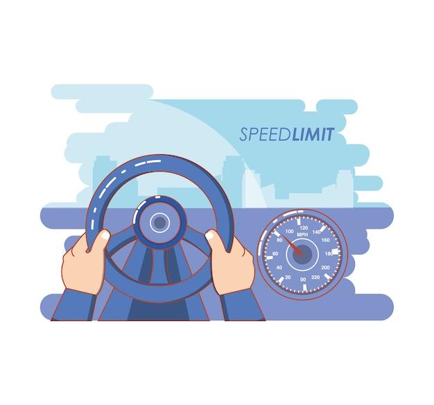 Geschwindigkeitsbegrenzungsfahrzeug, das vektorillustrationsdesign fährt