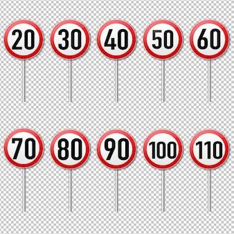 Geschwindigkeitsbegrenzungszeichensatz isoliert transparenter hintergrund