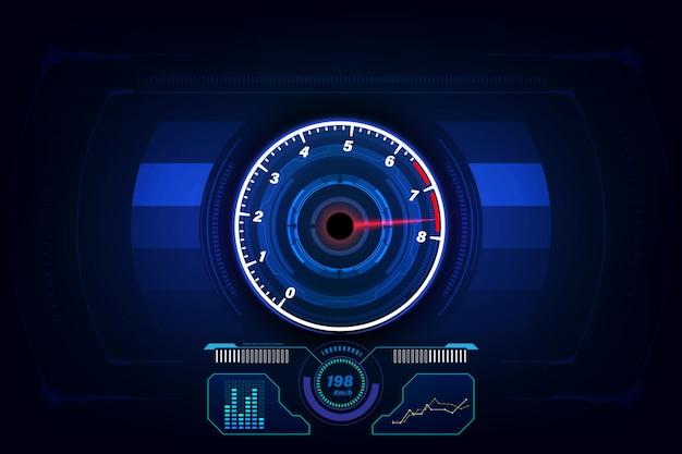 Geschwindigkeitsbewegungshintergrund mit geschwindigkeitsmesser